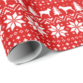 Cane Corso Silhouettes Christmas Pattern Red Wrapping Paper
