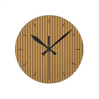 Cane wicker parquet round clock