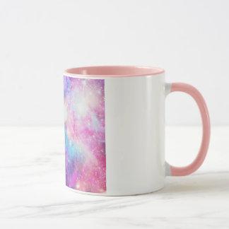 Caneca Galáxia com detalhe rosa Mug