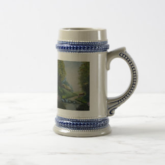 Caneco with handle and print beer stein