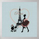 Caniche français de marche de fille vintage romant affiche
