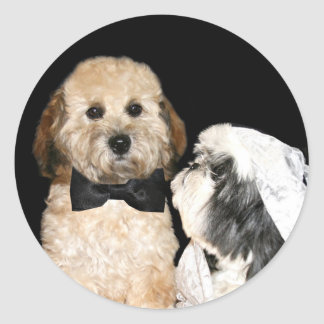 Canine Bride and Groom Round Stickers