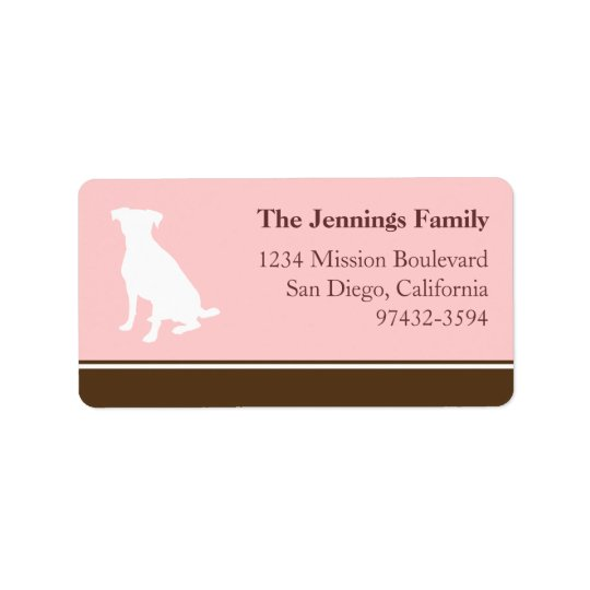 Canine dog pet silhouette pink return or mailing