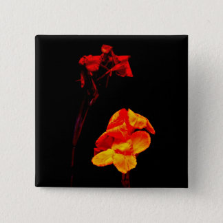 Canna Lilies on Black 2 Inch Square Button