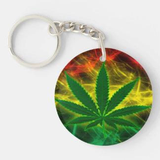 Cannabis Leaf Double-Sided Round Acrylic Keychain