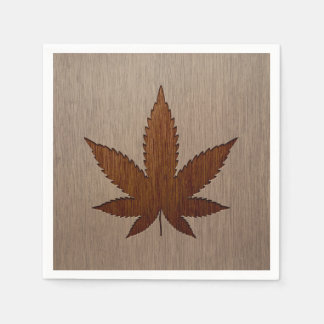 Cannabis leaf engraved on wood design disposable napkins