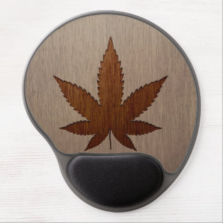 Cannabis leaf engraved on wood design gel mouse pad