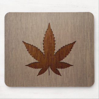 Cannabis leaf engraved on wood design mouse pad