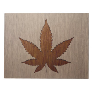 Cannabis leaf engraved on wood design note pads