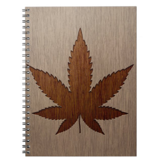 Cannabis leaf engraved on wood design notebook