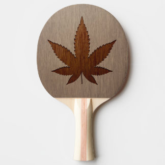 Cannabis leaf engraved on wood design Ping-Pong paddle
