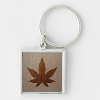 Cannabis leaf engraved on wood design Silver-Colored square keychain