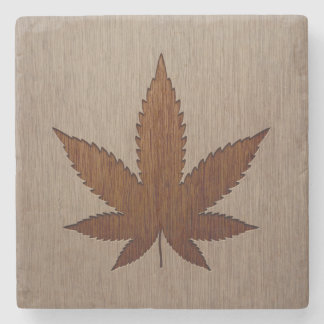 Cannabis leaf engraved on wood design stone beverage coaster