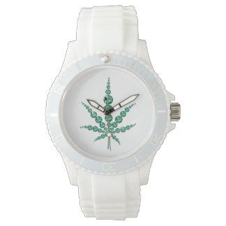 Cannabis Leaf in Emeralds Watch