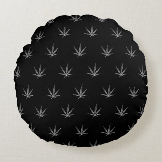 Cannabis Leaf on Black Round Pillow