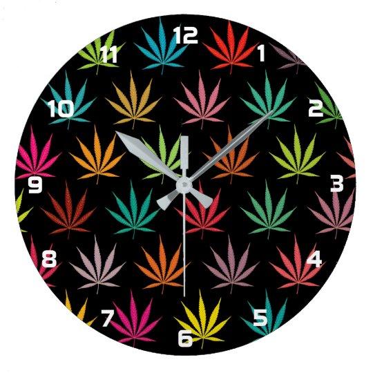 Cannabis Leaf Pattern Large Clock