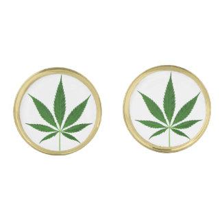 CANNABIS REX (marijuana leaf design) ~ Gold Finish Cuff Links