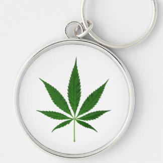 CANNABIS REX (marijuana leaf design) ~ Silver-Colored Round Keychain