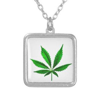 Cannabis Sativa Square Pendant Necklace