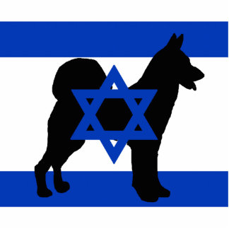 cannan dog silhouette flag_of_israel photo sculpture keychain