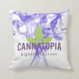 """Cannatopia Purple Smoke Throw Pillow 16"""" x 16"""""""