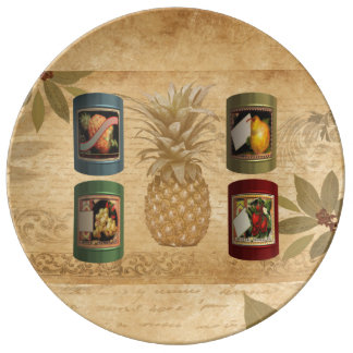 Canned fruit pineapple plate