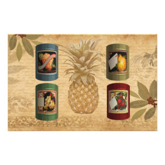 Canned fruit pineapple stationery design