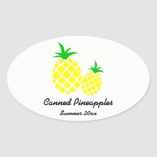 Canned Pineapples Preserves Label Oval Sticker