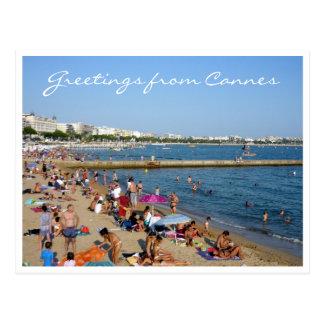cannes beachside greetings postcard
