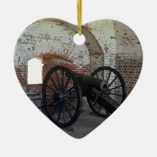 Cannon at Fort Pulaski Ceramic Heart Ornament