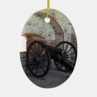 Cannon at Fort Pulaski Ceramic Oval Ornament
