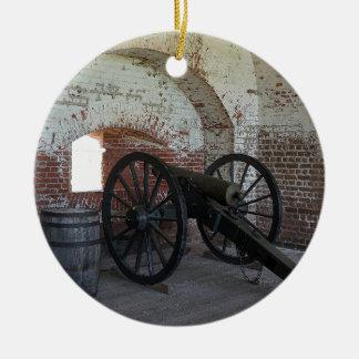 Cannon at Fort Pulaski Round Ceramic Ornament