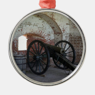 Cannon at Fort Pulaski Silver-Colored Round Ornament