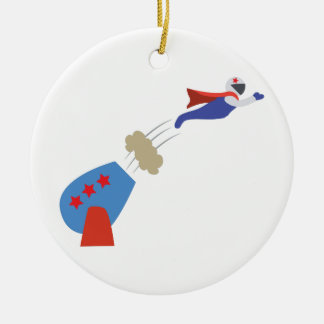 Cannon Ball Man Round Ceramic Ornament