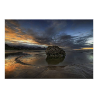 Cannon Beach Low Tide in Oregon Pacific Ocean Poster
