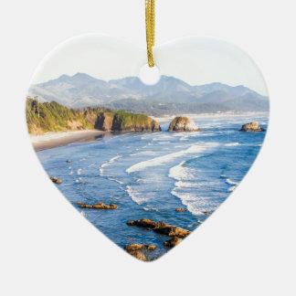 Cannon Beach Oregon Ceramic Heart Ornament