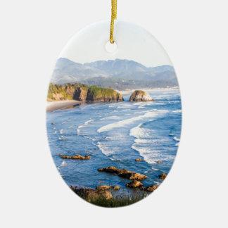 Cannon Beach Oregon Ceramic Oval Ornament