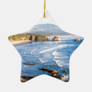 Cannon Beach Oregon Ceramic Star Ornament