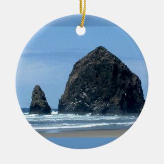 Cannon Beach, Oregon Round Ceramic Ornament
