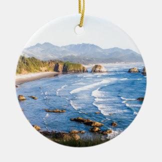 Cannon Beach Oregon Round Ceramic Ornament