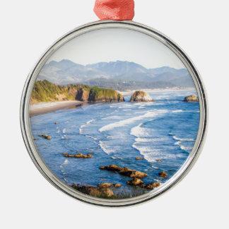 Cannon Beach Oregon Silver-Colored Round Ornament