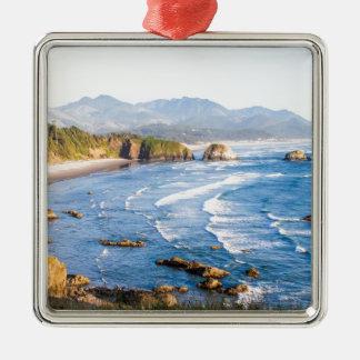 Cannon Beach Oregon Silver-Colored Square Ornament