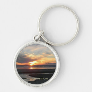 Cannon Beach, Oregon Sunset Silver-Colored Round Keychain