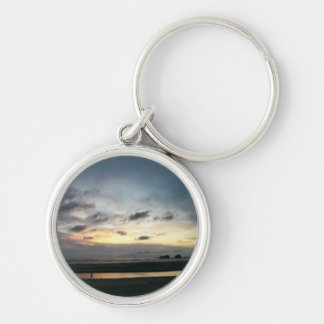 Cannon Beach Sunset Silver-Colored Round Keychain