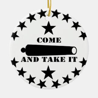 Cannon Come And Take It 2nd Amendment Round Ceramic Ornament