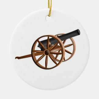 cannon round ceramic ornament