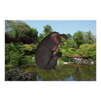 Cannonball Hippo Perfect Poster