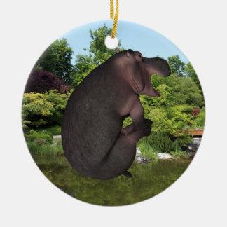 Cannonball Hippo Round Ceramic Ornament