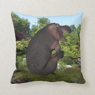 Cannonball Hippo Throw Pillow