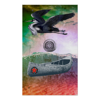 Canoe Adrift with Heron And Compass Poster No 2